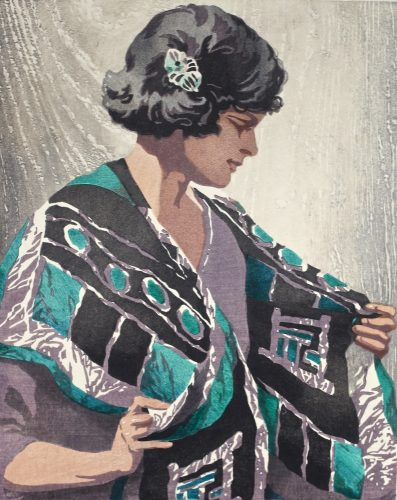 The Batik Scarf. Original woodblock print by Arthur Rigden Read. 1924