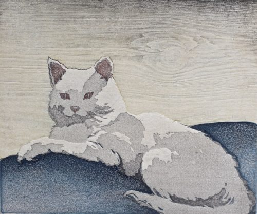 The White Cat. Original woodblock print by Arthur Rigden Read. 1922