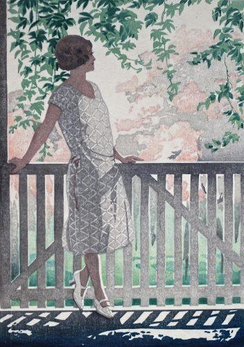 Apple Blossom.Original woodblock print by Arthur Rigden Read. c.1924