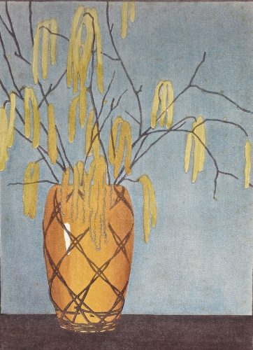 Catkins. Original woodblock print by Arthur Rigden Read.