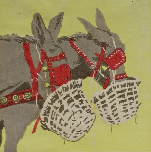Baggage Mules. Woodblock print by Arthur Rigden Read.1924.