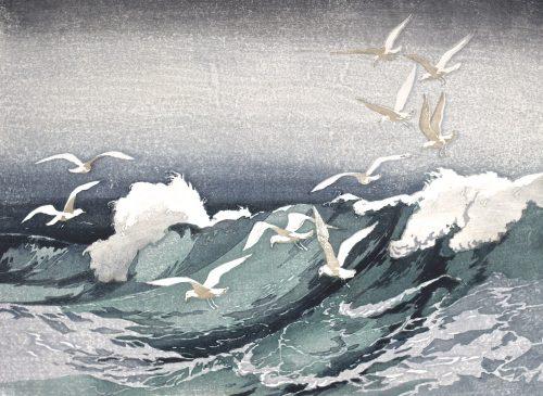 Stormy Seas. Original woodblock print. 1929. Arthur Rigden Read.