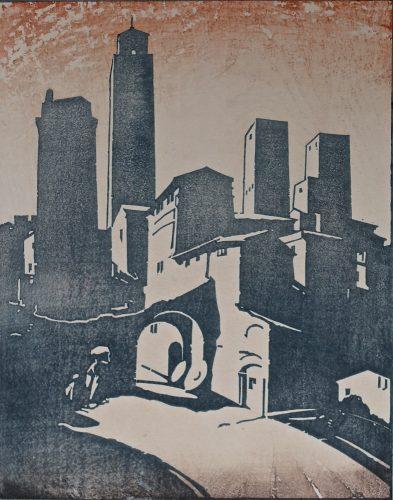 San Gimignano. Original woodblock print. 1923. Arthur Rigden Read.