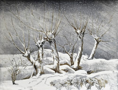 Snow on Willows. Original woodblock print. 1946. Arthur Rigden Read.