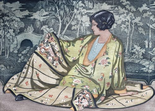 The Mandarin Gown. Original woodblock print. c1924. Arthur Rigden Read