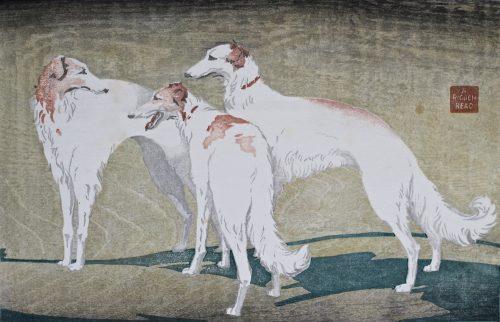 Borzoi. Original woodblock print. 1932. Arthur Rigden Read.