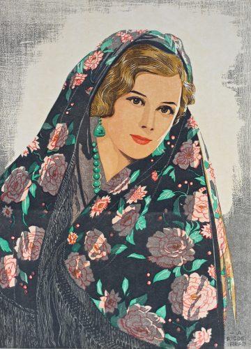 The Rose Shawl. Original woodblock print. c1920s. Arthur Rigden Read.