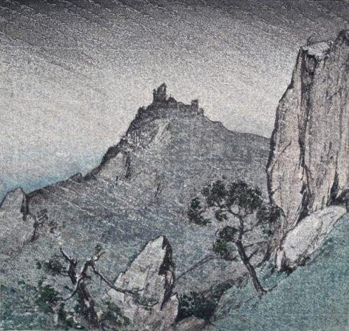 Nightfall, Pyrenees. Original woodblock print. c1925. Arthur Rigden Read.